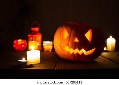 Scary Jack O Lantern Halloween Pumpkin using for Wallpaper