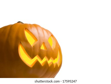 Scary Jack O' Lantern Lit Up on White Background