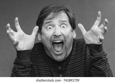 Scary man screams