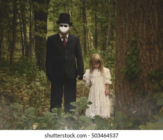 A scary man in a white mask and suit is standing in the dark woods with a child who is possessed with evil for a nightmare or fear concept.
