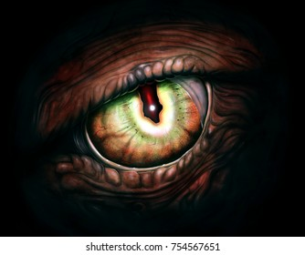 Scary monster eye digital realistic painting.
