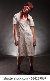Scary nurse zombie. Horror story. Book cover.