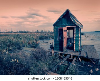Scary old terrible abandoned hut, wooden creepy house on mysterious empty uninhabited swamp with dead trees and . Natural background of mistical place for your ideas