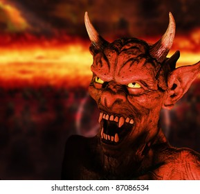 Scary portrait of a devil figure in hell background