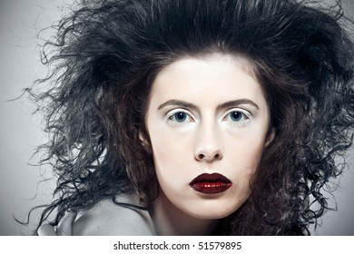 Scary portrait of witch woman