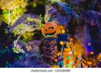 Scary pumkin in halloween town