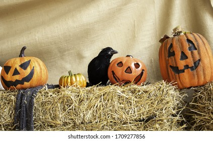 Scary pumpkin on Halloween, party and ghosts, witchcraft