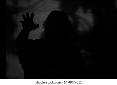 Scary shadow figure of a thief or something else along the side of house looking to do harm.