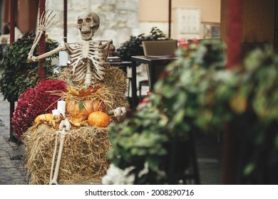 Scary skeleton, pumpkins, flowers and hay stacks in city street, holiday decoration of storefronts and buildings. Spooky Halloween street decor. Space for text. Trick or treat. Happy halloween