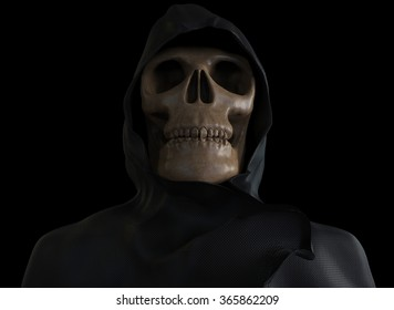 Scary skeleton wearing a hooded coat