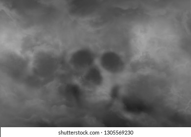 Scary skull from a cloud of smoke, concept of horror and Halloween