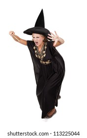 Scary sorceress casting a spell. isolated on white background
