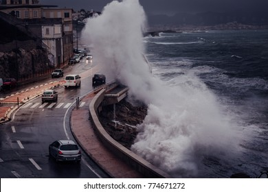 Scary Stormy background with Big Sea Wave Splash Against City Road