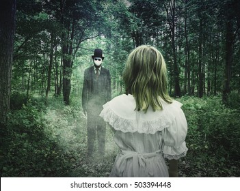 A scary tall man in a black suit is standing in the dark woods at night and a little child is looking at him for a nightmare fear or monster concept.