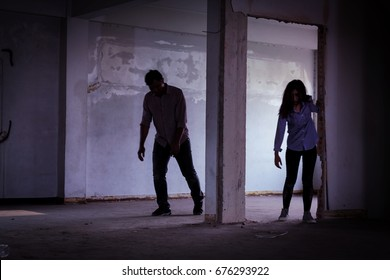 Scary two Zombies living and Walking on Abandoned building place, Halloween concepts