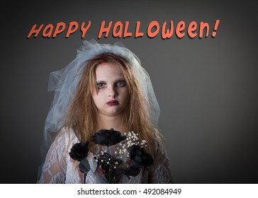 Scary Typographical image - Happy Halloween - kid as a zombie bride for trick or treat