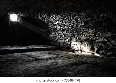 Scary underground, old castle cellar