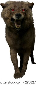 scary werewolf dog with red eyes isolated on white