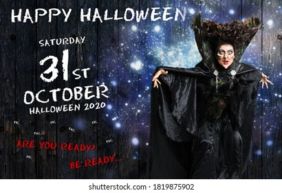 scary witch confuring a spell in front of Halloween background