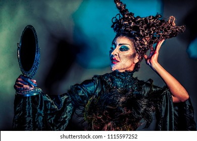 scary witch with mirror
