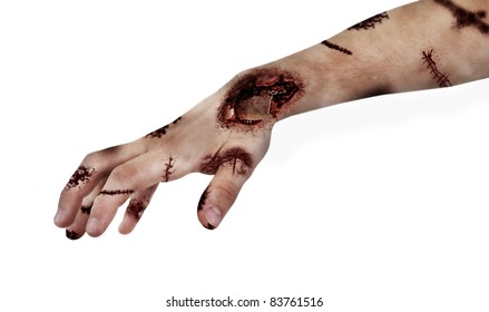 scary zombie hand isolated on white; maybe useful for some Halloween concept