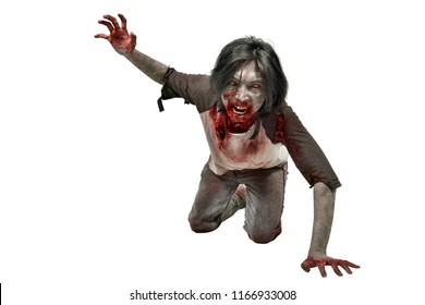 Scary zombie man crawling with bloody mouth isolated over white background