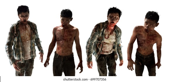 Scary zombies on white background