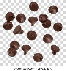 Scattered chocolate chips morsels or drops isolated on white background including clipping path