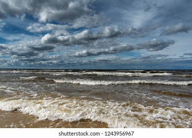 Scattered clouds over gulf of Riga, Baltic sea.
