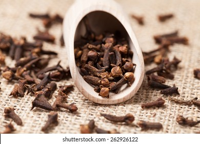Scattered cloves aromatic spicein wooden shovel on vintage textile background