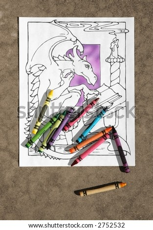 Scattered Crayons Coloring Book Page Stock Photo (Edit Now) 2752532 ...