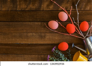scattered eggs on wooden background. happy Easter card