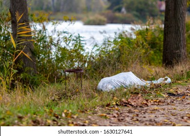 Scattered garbage on natural blurred background at Zlato Pole or Gold Field Protected Area in Bulgaria, selective focus, shallow depth of field - Shutterstock ID 1630127641