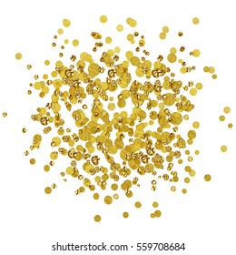 Scattered gold confetti isolated on white