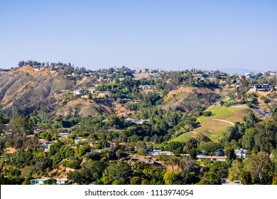 Scattered houses on one of the hills of Bel Air neighborhood, Los Angeles, California