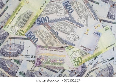 Scattered Saudi Riyals currency, new printed notes