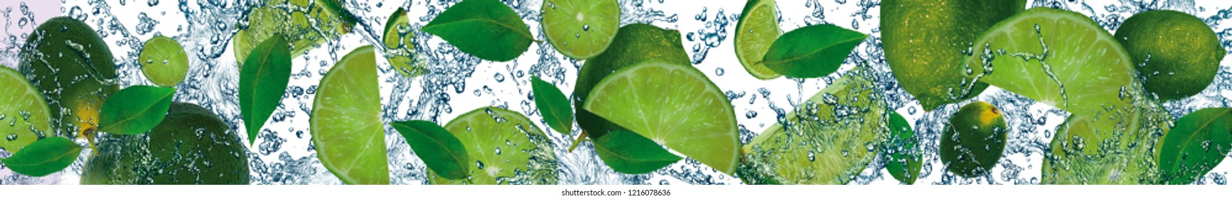 Scattered slices of fresh and juicy lime.