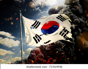 Scattered South Korea flag in smoke and fire