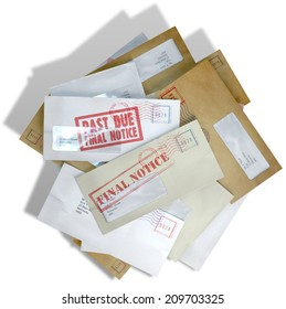 A scattered stack of regular envelopes with delivery stamps and a clear window and the top pink one saying payment due symbolizing bills and debt on an isolated white background
