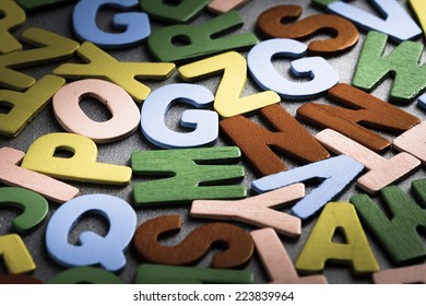Scattered wood letters on the table