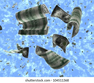 Scattering of Crumpled $10,000 Federal Reserve Notes with a Lightly Clouded Blue Sky Background
