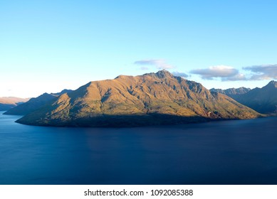 Scenario of nature in New Zealand from top view, lake and mountain landscape
