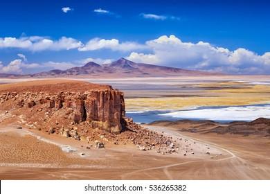 Scenario of Salar de Tara, a beautiful salty and surroundings in Atacama, Chile.