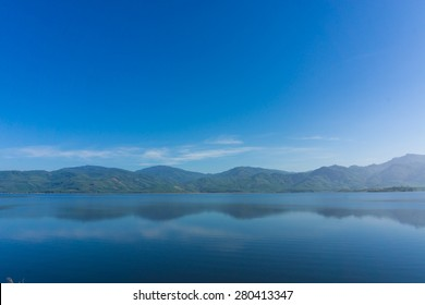 Scence of Reservoir and mountain, Blue sky nature background