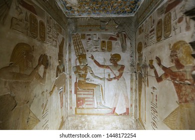 Scene from Abydos Temple in Madfuna Town, Egypt