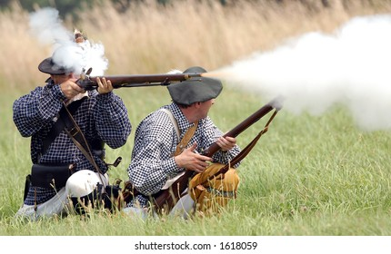 Scene from American Revolution battle re enactment at Fort George, Niagara On The Lake, Ontario, Canada. July 29/2006.