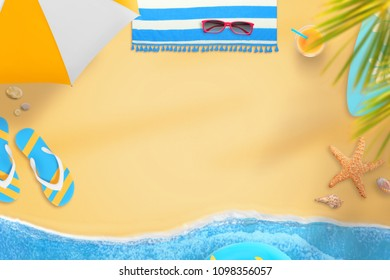 Scene from the beach with text space in the middle. On the side are palm trees, sunbathing, slippers, towel, glasses, cocktail, surfboard, swimming ring, shells and sea star.