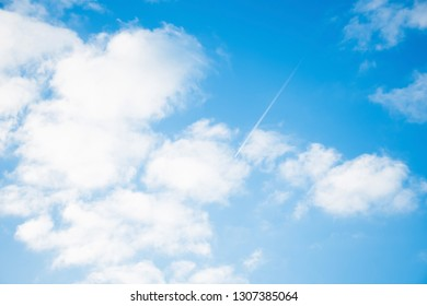 Scene bottom view of beautiful clear blue sky with white clouds ,beautiful nature in summer day time, feel soft and smooth,relax, peacefull and romantic love moment.