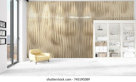Scene with brand new interior in vogue with white rack and modern yellow chair. 3D rendering. Horizontal arrangement.