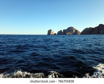 Scene of Cabo San Lucas from a cruise ship. Baja California, Mexico.